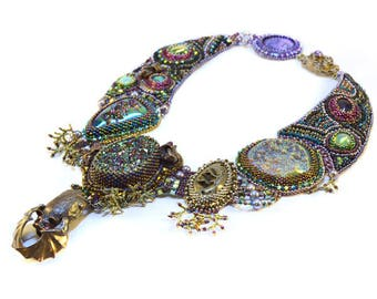 Bead Embroidery Collar with Bat (one of a kind) *Finished Item