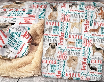 Personalized Dog Breeds Blanket - Dog Theme Sherpa Throw Blanket -  Pet Blanket -  Personalized Name Blanket - Baby Blanket - Sherpa