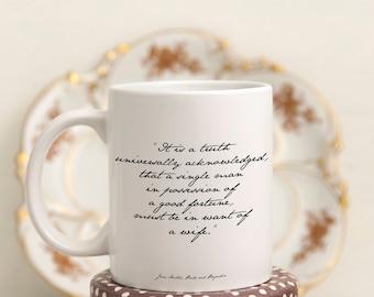Jane Austen Coffee Mug, Jane Austen Gift Pride Prejudice Mug, tea mug with Jane Austen quote