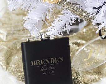 Groomsmen Flasks - Personalized 6oz Black Matte Wedding Flasks - Perfect for Groom, Best Man, Groomsmen, Groomsman, Fathers, Ushers,Husbands