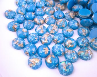 10 12mm Light Blue Resin Foil Cabochons, color cabs H149