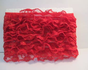 """Vintage red with gold highlights ruffled lace 5 yards 30 inch and 1""""  wide for clothing and craft sewing"""