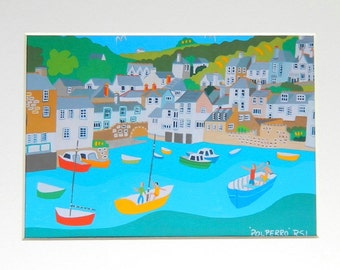 Polperro, Cornwall, Unframed Art Print by Richard Lodey, Association of British Naive Artists