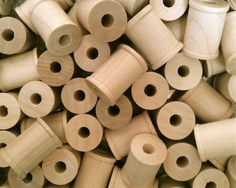 10 Small Wood Spools - Thread Spools - Kids Wood Sewing Thread Craft Supplies