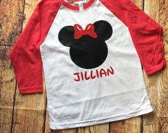 Girls Minnie Inspired Disney 3/4 Sleeve Raglan Shirt for Girls, Disney Family Shirt, Girls Raglan, Minnie Shirt,  Girls Disney
