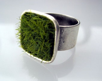 Lush Green Grass Silver Square Adjustable Wide Band Ring - the original
