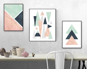 Geometric Wall Art, Triangle Wall Prints, Pink, Mint And Blue Shapes, Wall