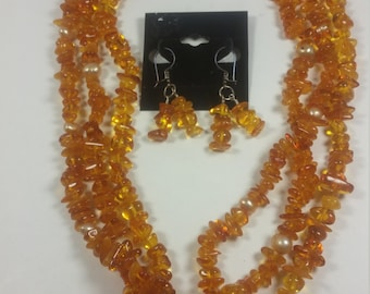 Baltic Amber Freshwater Pearls and Bali silver jewelry set