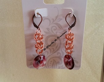 Pierced Copper Chainmail Earrings with Red Swirl Disk