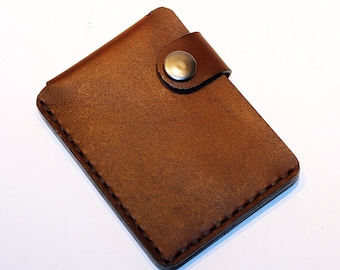 Brown leather wallet, credit card wallet, mini wallet, handmade wallet, leather wallet, business card holder