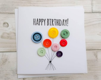 Custom birthday card etsy handmade birthday card with button balloons with hand drawn string can be personalised with a bookmarktalkfo Images