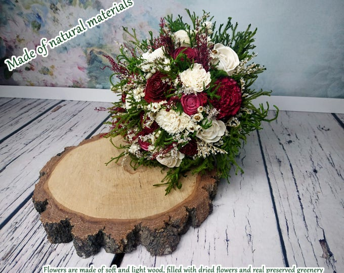 Large burgundy deep red wine wedding BOUQUET sola and dried preserved flower greenery cypress cedar rose Burlap Lace romantic rustic natural