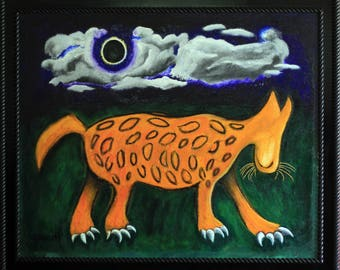 Original Oil Painting Leopard and Eclipse Moon