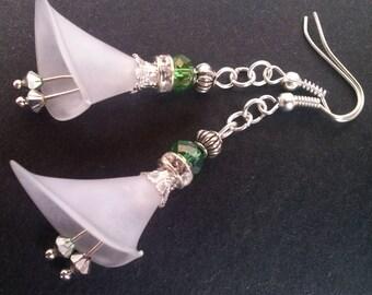 Cala Lily Earrings , Silver Earrings , Ornate Crystal Earrings , Flower Earrings , Lucite Flower Lily , Handmade Jewelry , Gift