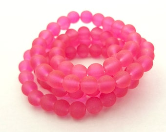 50 Frosted Pink Matte Sea Glass Beads 8mm frosted beach glass round (H2797)