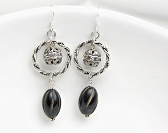 Black & Silver Earrings Black Dangle Earrings Long Black Drop Earrings Silver Dangle Twisted Hoop Earrings Silver Rhinestone Earrings