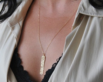 Long necklace, geometric necklace, mesh bar necklace, layering necklace, Gift for her, dainty necklace, long and layered, modern jewelry