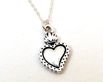 Milagro Heart Necklace / Silver Sacred Heart Necklace / Silver Heart / Sterling silver chain / Valentines Day Gift