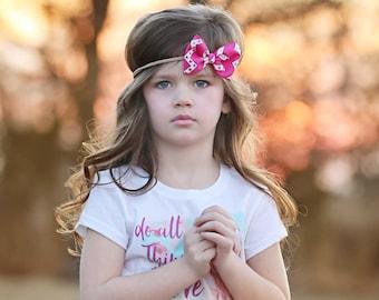 Pink Burlap Bow Headband, Pink Nylon Headband, Pink Chevron Bow Headband, Pink Chevron Hair Bow, Pink Bow Headband, Pink Hair Bow Clip