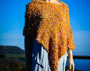 Fantasy Yarn Poncho Orange Lilac Yellow Spring Summer Women Knit Wrap