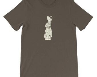 White rabbit t shirt Rabbit tee Bunny shirt Vintage animal shirt Animal graphic tees Artsy t-shirt Rabbit lover gift Easter t shirt adult