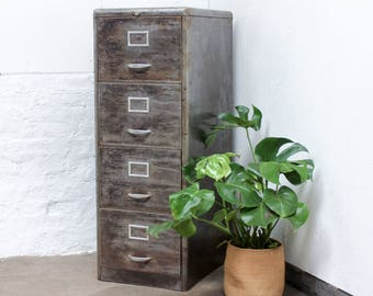Maurizio Reclaimed Stripped and Distressed Vintage Urban Industrial 1950s Stripped Steel 4 Drawer Filing Cabinet with Rounded Corners
