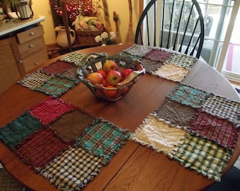 Handmade Rustic Rag Quilt Placemats, Rag Quilts, Made-To-Order, Rustic Quilt, Farmhouse Table, Primitive Decor, Table Linens
