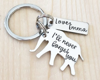 Elephant keychain - Special thank you gift - Hand stamped keychain - Elephant jewelry - I will never forget you - Thank you gift