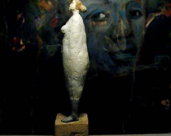 Standing Woman in Dress II/ Ceramic Colorful Unique Standing Sculpture/ Female Figure