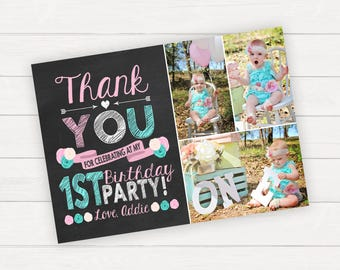 Thank You Card Birthday Thank You Card Photo Thank You Card Thank You Note Photo Thank You Card 1st Birthday Thank You First Birthday