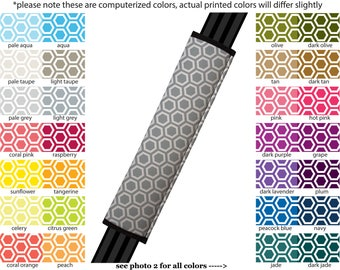 Seat Belt Cover // AUTO PAD // Car Accessories // seat belt pad - Honeycomb- Pick Your Own Color - Custom seatbelt geometric pattern hexagon