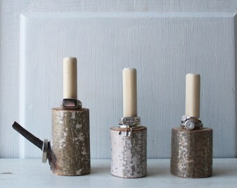 ONE Natural Birch Ring Holder Display - Birch Log Jewelry Display - Natural Jewelry Display - Woodland - Quantities READY To SHIP