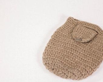 Crochet Bucket Bag, Brown, Handmade
