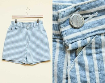 Striped Shorts // High Waisted Shorts // 90s Denim Riders White Blue Jean Hipster Jorts Size 10 12 Medium