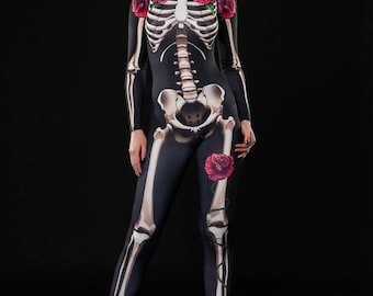 SKELETON GLAM Halloween Costume, Full Body Skeleton, Adult Skeleton Catsuit, Skeleton Jumpsuit, Halloween Costumes, Day of The Dead Costume