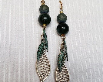 Green and Gold Feather and Leaf Earrings