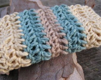 Crochet Wash Cloth Natural Earthy Hand Dyed Ocean Blue Bath and Beauty