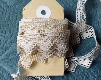 Antique Lace Vintage Lace Handmade Filet Lacis Tiny Hearts Doll Dress Cottage Decor