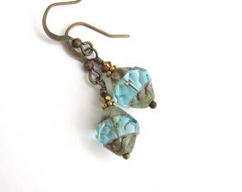 Aqua Blue Earrings, Swarovski Crystal Earrings, Petite Dangle Earrings, Dainty Drop, Boho Wedding, Bridesmaid Earrings, Bohemian Earrings