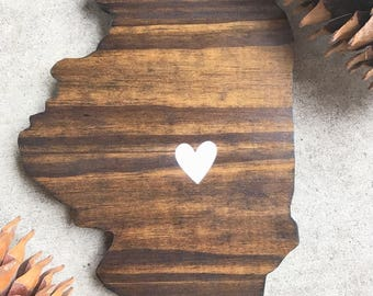 Illinois, Illinois cut out, State cut out, State cut out wood, Wood signs