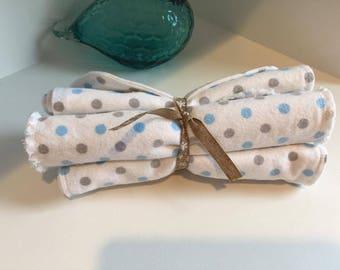 Set of 4 Flannel Burp Cloths. Blue & Gray Polka Dot Burp Cloths.