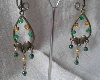 "Earrings ""butterfly and pearls"""