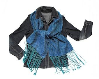 Blue Silk Scarf, Wide Blue Scarf, Hand Woven Scarf, Silk and Tencel Scarf, Handwoven Scarf Turquoise, Women Scarf Ladies, Blue Blanket Scarf