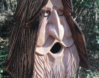 Happy wood spirit birdhouse. Hand carved, home made in the U.S.A. From western red cedar. Smiling face art cottage for indoor or outdoor.