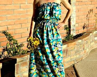 Bridesmaid Dress Long-Long Bridesmaid Dress-Boho Bridesmaid Dress-Skirt Maxi-Wear Again Bridesmaid-Festive Bright Floral-Solid-No Fittings
