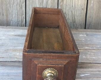vintage wood drawer box, sewing machine drawer