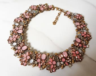 Pink Jewel Bib Necklace    Women's Statement Necklace    Jewels by House of Aria