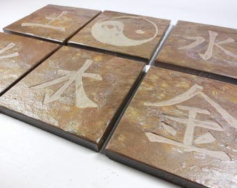 CHINESE ELEMENTS COASTERS: Wood, Metal, Fire, Earth, Air, and Yin Yang - Hand Carved Heavy Duty Slate Stone Coaster Set of 6, Drink Coasters