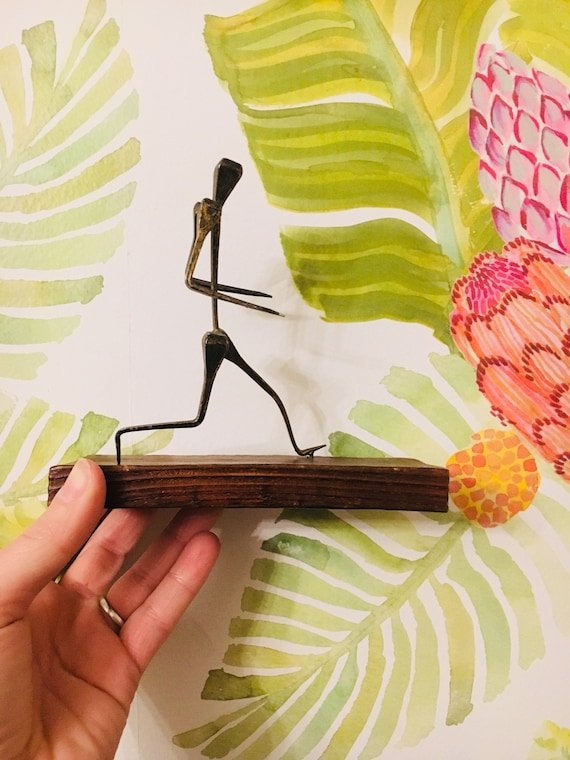 Vintage Abstracted Metal Figurine - Walking Man Figurine - Vintage Art Objects - Vintage Figurines