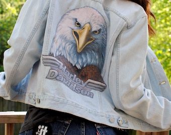 Vintage Levis Harley Davidson Patch Jacket- Size Large